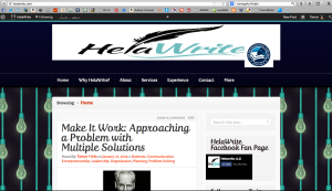 My business website with the new blog front and center.