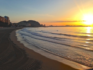 Sunrise I witnessed yesterday morning on Playa Postiguet.
