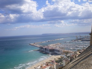 Beautiful view of the Alicante coast from the Castillo de Santa Barbara.