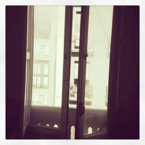 My bedroom windows in my Spanish apartment.