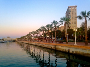 Sunrise on the port. Alicante, Spain.