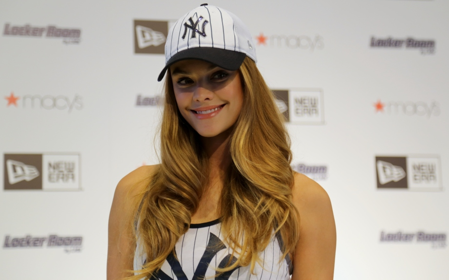 New Era brand ambassador Nina Agdal shops the new women's MLB looks at the Locker Room by LIDS shop at Macy's in Herald Square.