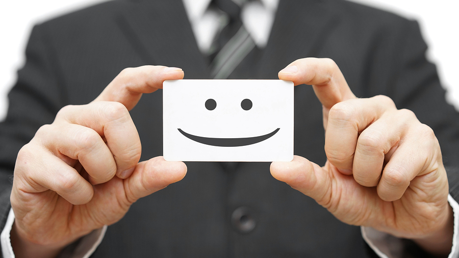 our clients are happy clients smile on business card